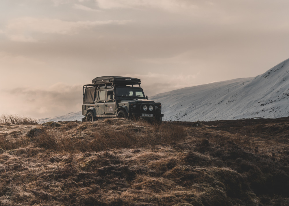 Land Rover Defender 110 in wild Scotland