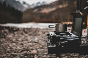 Wild camping with camp stove in Perthshire Scotland