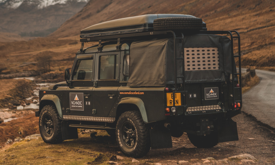 Land Rover Defender 110 fully equipped for wild camping in Scotland